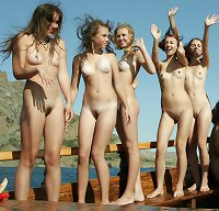 naked girls on a boat busty